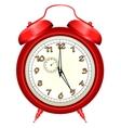 Icon of red alarm clock vector image
