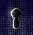 keyhole on the background of binary code vector image vector image