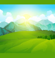 landscape green meadows with mountains summer vector image
