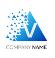 letter v logo symbol on colorful triangle vector image vector image