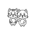 Line cute couple cat wild animal with beautiful
