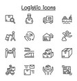 logistic delivery icons set in thin line style vector image