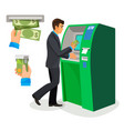 man near atm holding credit card and its usage vector image
