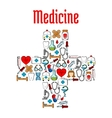 Medicine symbols in a shape of medical cross vector image vector image