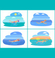 people swimming in water cartoon icon vector image