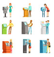 people using electronic self service terminals vector image vector image