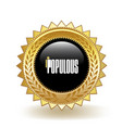 populous cryptocurrency coin gold badge vector image vector image