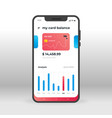 red and blue banking ui ux gui screen for mobile vector image vector image