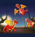 red dragon at night vector image vector image