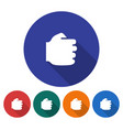 round icon of fist flat style with long shadow vector image vector image