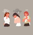 sad unhappy woman in stress depression mental vector image