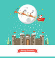 santa sleigh flying over castle in winter season vector image