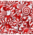 Seamless background with red and white candies vector image