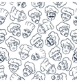 Seamless chefs and bakers in toques pattern vector image vector image