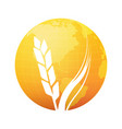 silhouette of wheat on background of gold planet vector image vector image