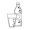 soda bottle and cup black and white vector image vector image