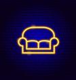 sofa neon sign vector image