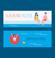 summer pool posters with text vector image vector image