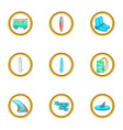 surfing equipment icons set cartoon style vector image vector image
