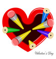 top view of a heart shaped mug for pencils vector image