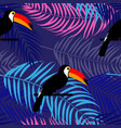tropic toucan bird and palm leaf seamless pattern vector image vector image