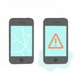 Two broken phones vector image