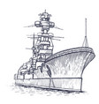 warship with a high mast vector image vector image
