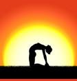 yoga ustrasana pose black silhouette on sunset vector image vector image