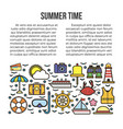 summer time web page with holiday elements beach vector image