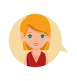 woman avatar character with speech bubble isolated vector image