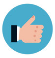thumb up icon on round blue background vector image