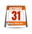 31 october halloween holiday date in calendar vector image vector image