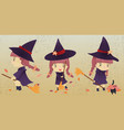 a little witch girl with bloom cartoon character vector image
