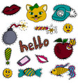 a set of fashion labels badges old phone lips cat vector image