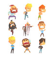 angry and exasperated men set for label design vector image vector image