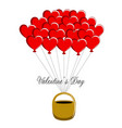 basket with heart shaped air balloons vector image