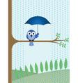 BIRD TREE RAIN vector image