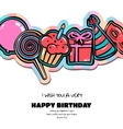 Birthday card with items balloon cake hat vector image