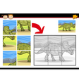 cartoon dinosaur jigsaw puzzle game vector image vector image