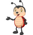 cartoon ladybug presenting on white background vector image vector image