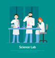 cartoon scientists working at lab concept card vector image vector image