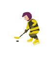 cartoon teen boy playing ice hockey vector image vector image