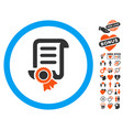 certified scroll document icon with valentine vector image vector image