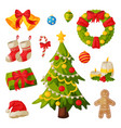 christmas and new year symbols collection vector image
