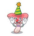 clown russule mushroom mascot cartoon vector image