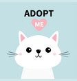 cute cat face line silhouette adopt me pink vector image vector image