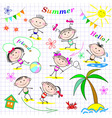 Cute cheerful kids vector image