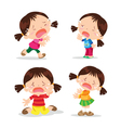 Cute girl crying cartoon vector image