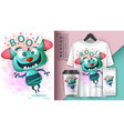 cute monster - mockup for your idea vector image vector image