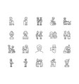 elderly people line icons signs set vector image vector image